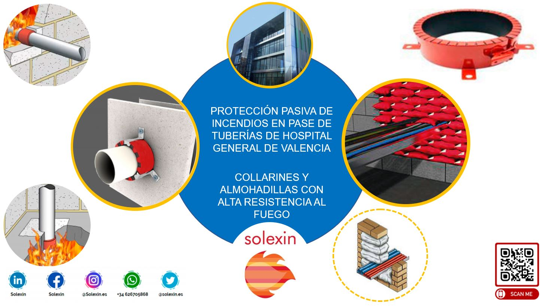 Collarines y Almohadillas para Protección Pasiva de Incendios en Hospital de Valencia